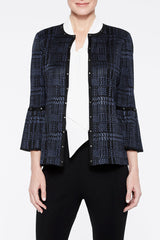Pleat Cuff Plaid Knit Jacket Color Spectrum Blue/Black