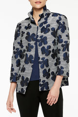 Lines and Petals Woven Jacket Color Spectrum Blue/Antique White/Black