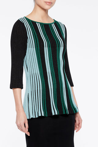 Stripe Fit 'n' Flare Knit Tunic Color Juniper Green/Black/Spectra Green