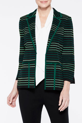 Multi Stripe Ottoman Knit Jacket Color Juniper Green/Black/Spectra Green