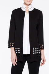 Lattice Hem Ponte Jacket Color Black