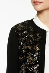 Sequin Panel Knit Jacket Color Gold/Black