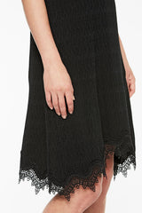 Lace Hem Knit Dress Color Black