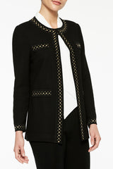 Texture Jacket with Stud Detail Color Black