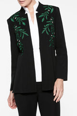 Leaf Embroidery Jacket Color Black/Forest Green/Limestone Green