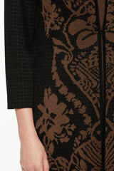 Floral Damask Jacket Color Cognac Brown/Black