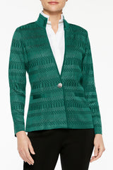 Shadow Stripe Knit Blazer Color Juniper Green