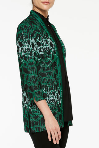Abstract Jacquard Knit Jacket Color Juniper Green/Black/Spectra Green