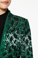 Plus Size Abstract Jacquard Knit Jacket Color Juniper Green/Black/Spectra Green