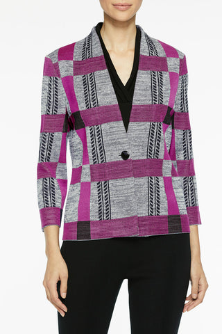 Bold Plaid Knit Jacket Color Black/Silver Mist/Vivid Viola