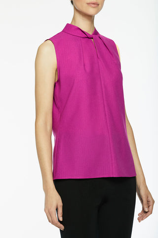 Twist-Neck Crepe de Chine Blouse, Vivid Viola Color Vivid Viola