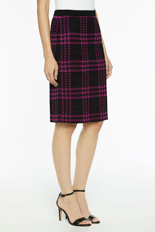Graphic Plaid Knit Skirt Color Black/Vivid Viola
