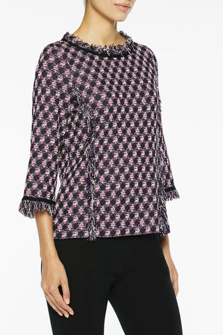 Check and Fringe Knit Tunic Color Vivid Viola/Black/Silver Mist