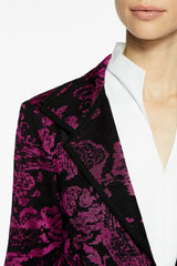 Plus Size Floral Sprig Damask Knit Jacket Color Vivid Viola/Black
