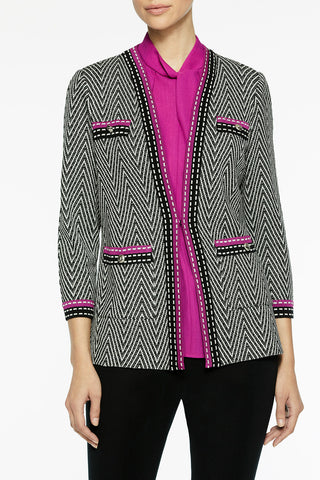 Dash Trim Chevron Knit Jacket Color Vivid Viola/Black/Silver Mist