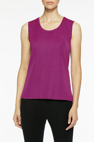 Long Scoop Neck Knit Tank, Vivid Viola Color Vivid Viola