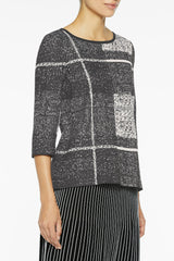 Graphic Plaid Knit Tunic Color Black/Mineral Grey/Sandbank Beige