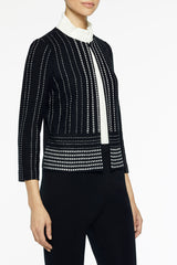 High Contrast Pickstitch Knit Jacket Color Black/White