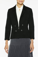 Plus Size Textured Tonal Knit Jacket Color Black