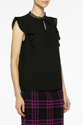 Lace Detail Ribbon Trim Crepe de Chine Blouse Color Black