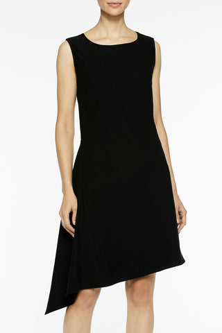 Asymmetrical Flare Stretch Crepe Dress Color Black