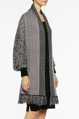 Ribbed Cuff Cozy Knit Shrug Color Black/Mineral Grey