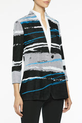 Graphic Landscape Knit Jacket Color Black/Azure Blue/White
