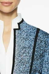 Print and Panel Knit Jacket Color Azure Blue/Black/White