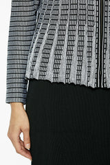 Plus Size Striped Fit 'n' Flare Knit Jacket Color Black/White