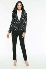 Diagonal Jacquard Knit Jacket Color Black/White