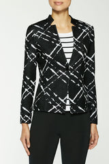 Plus Size Diagonal Jacquard Knit Jacket Color Black/White