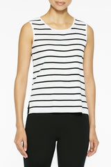 Long Striped Scoop Neck Knit Tank Color White/Black