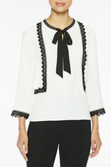 Ribbon and Lace Trim Crepe de Chine Blouse Color White/Black