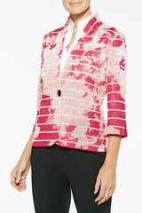 Floral Burnout Striped Knit Jacket Color Bright Rose/Guava/White