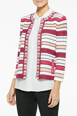 Zip-Front Multi-Stripe Knit Jacket Color Bright Rose/Guave/Black/White