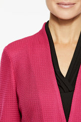 Plus Size Modern Peplum Knit Jacket Color Bright Rose