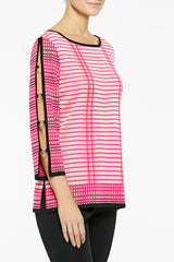 Multi Stripe Peek-A-Boo Sleeve Knit Tunic Color Bright Rose/Guave/Black/White