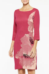 Floral Intarsia Knit Dress Color Bright Rose/Black/Guava