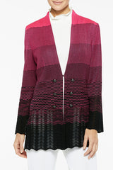Plus Size Ombre Pointelle Knit Jacket Color Bright Rose/Black
