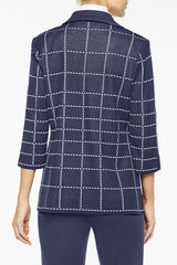 Dashed Windowpane Knit Jacket Color Indigo/White