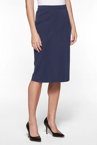 Below the Knee Straight Knit Skirt, Indigo