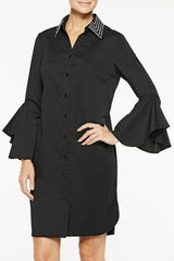 Ruffle Sleeve Cotton Shirtdress Color Black