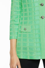 Plus Size Two-Button Textured Knit Jacket Color Springview Green