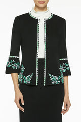 Plus Size Embroidery Trim Knit Jacket Color Black/Springview Green/White
