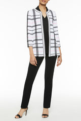 Mixed Check Pattern Knit Jacket Color White/Black/Ballet Pink