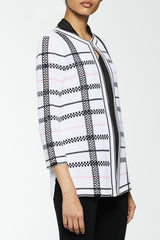 Plus Size Mixed Check Pattern Knit Jacket Color White/Black/Ballet Pink