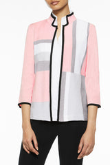 Colorblock Knit Jacket Color Ballet Pink/Black/Sterling Grey/White