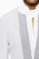 Two-Tone Subtle Check Knit Jacket