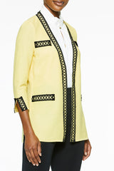 Plus Size Lace Trim Textured Knit Jacket