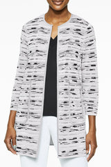 Digital Crepe de Chine and Knit Jacket